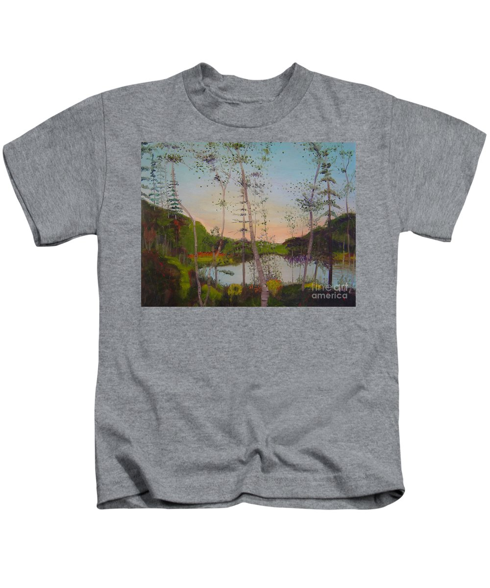 Landscape Kids T-Shirt featuring the painting Dawn By The Pond by Lilibeth Andre
