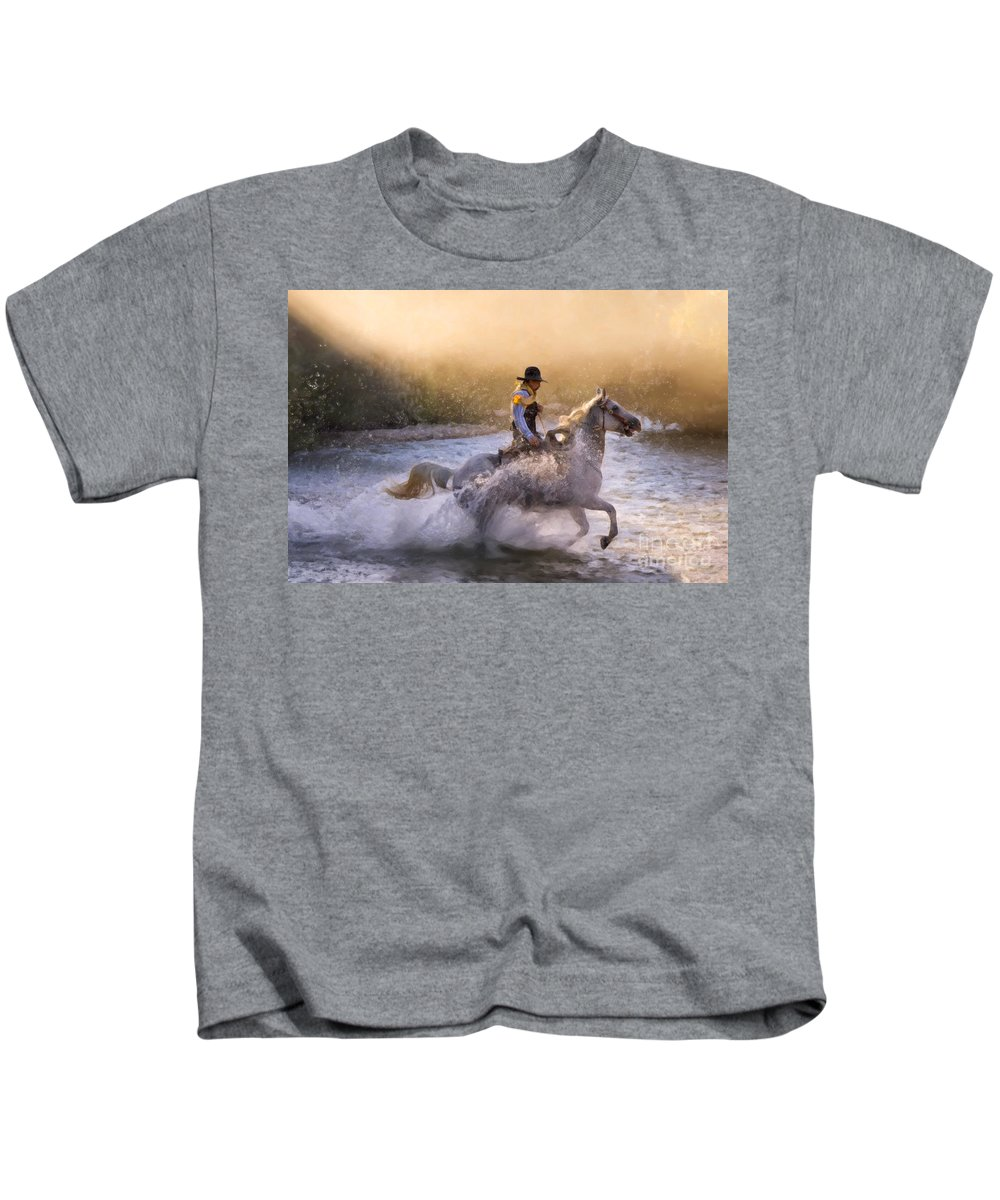 Big Horn Basin Kids T-Shirt featuring the painting Dawn's Misty Waters by Janet Fikar