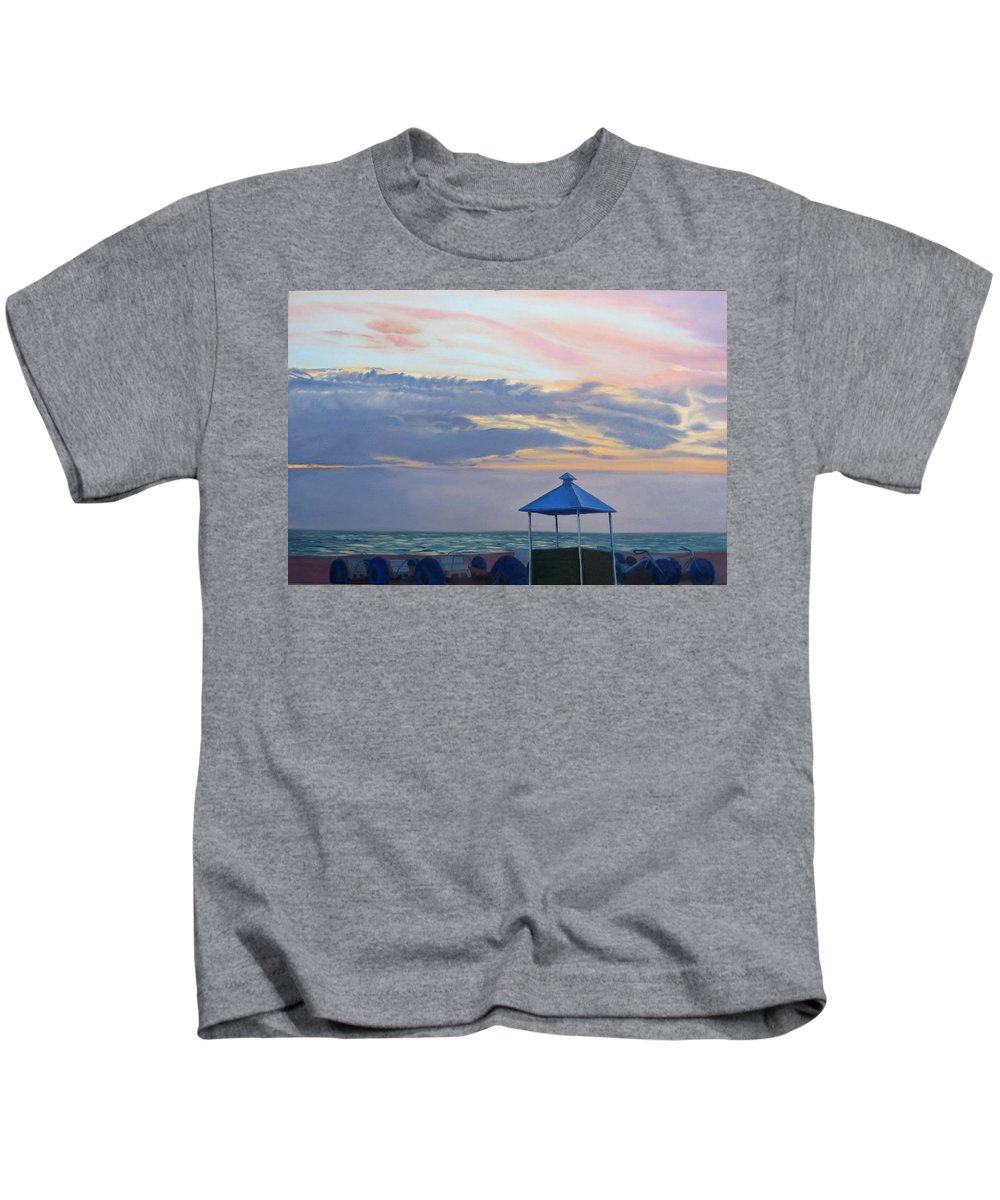 Sunset Kids T-Shirt featuring the painting Day Is Done by Lea Novak