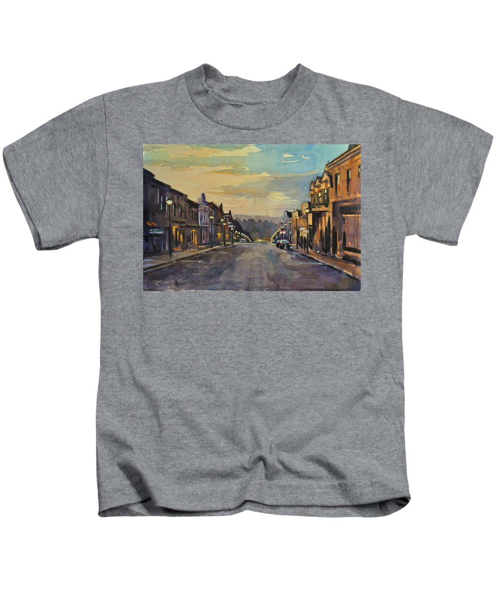 Mineral Point Kids T-Shirt featuring the painting Daybreak In Mineral Point by Spencer Meagher