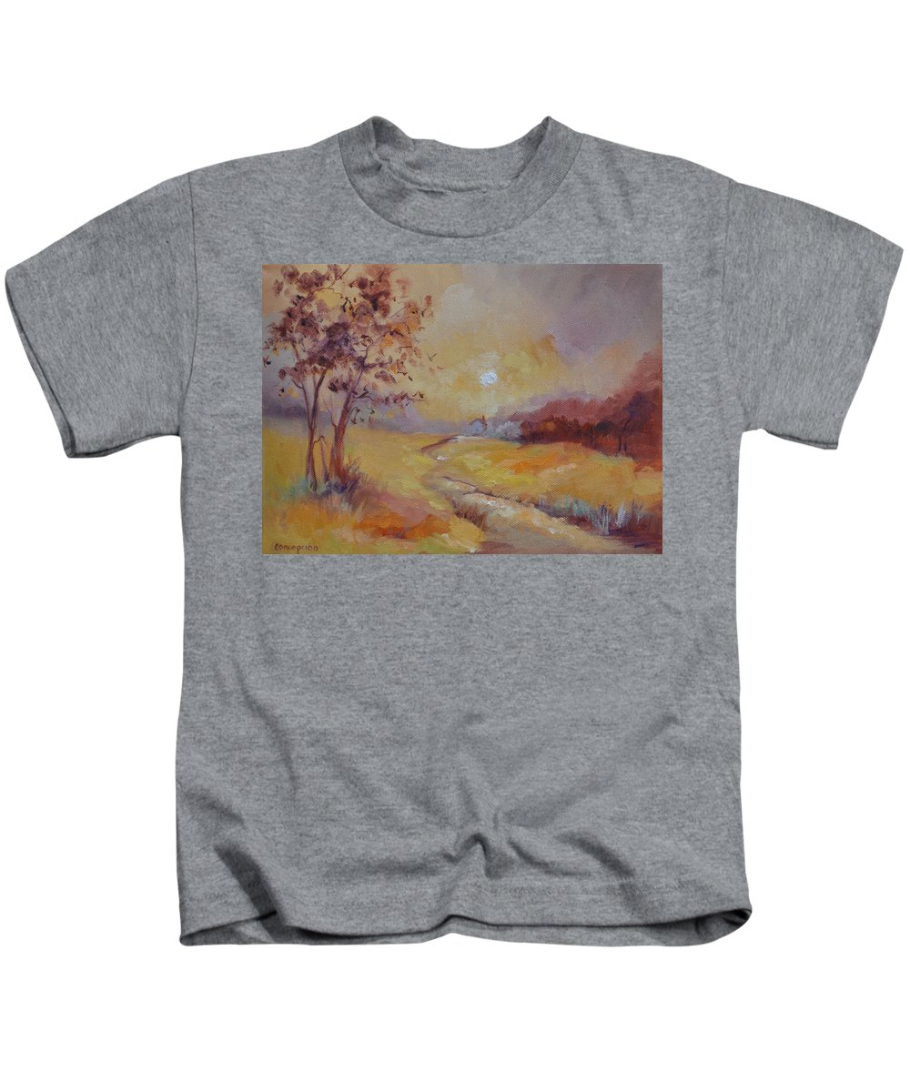 Evening Landscape Kids T-Shirt featuring the painting Day's End by Ginger Concepcion