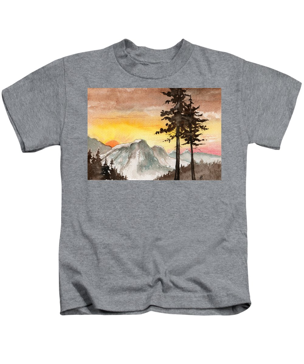 Landscape Kids T-Shirt featuring the painting Day's Passing by Brenda Owen