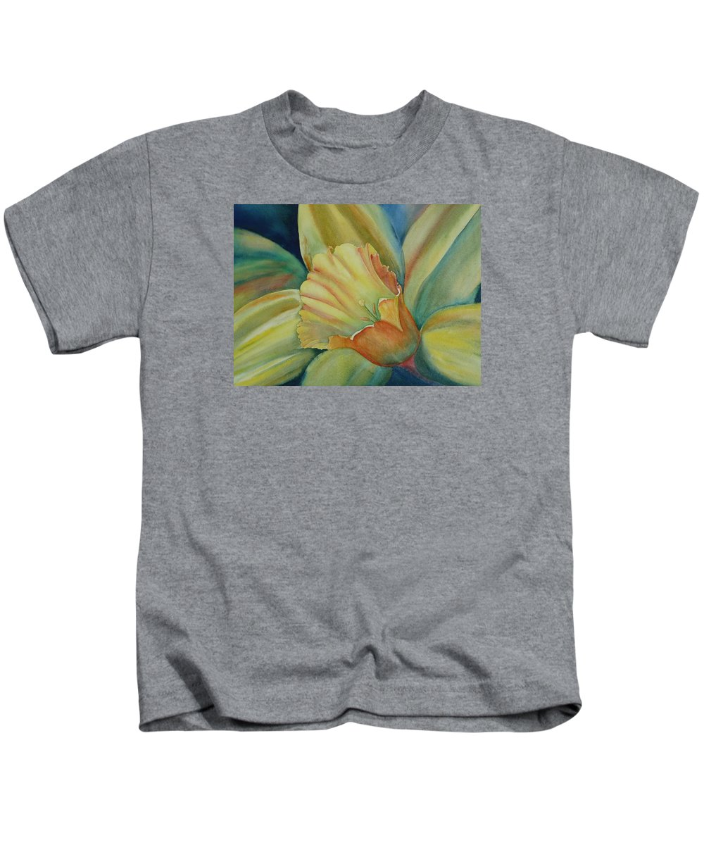 Flower Kids T-Shirt featuring the painting Dazzling Daffodil by Ruth Kamenev