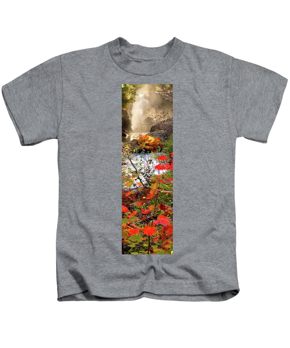 Dead River Falls Kids T-Shirt featuring the photograph 5 Of 6 Dead River Falls Marquette Michigan Section by Michael Bessler