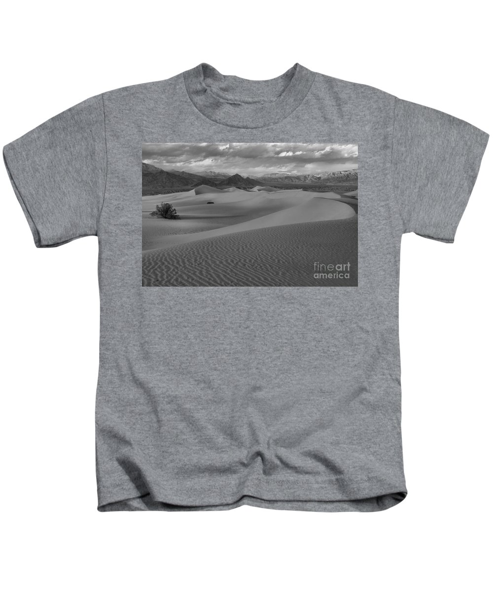 Black And White Kids T-Shirt featuring the photograph Death Valley Dunes Black And White by Adam Jewell