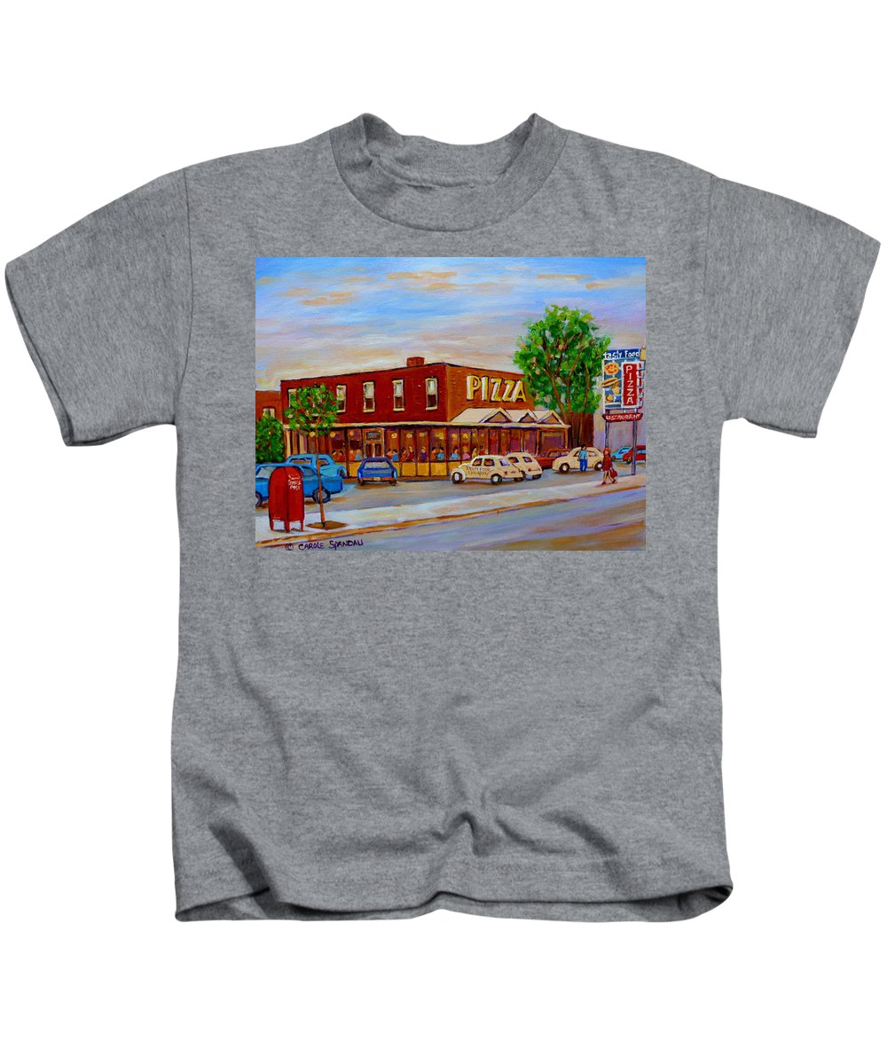 Tasty Food Pizza Kids T-Shirt featuring the painting Decarie Tasty Food Pizza by Carole Spandau