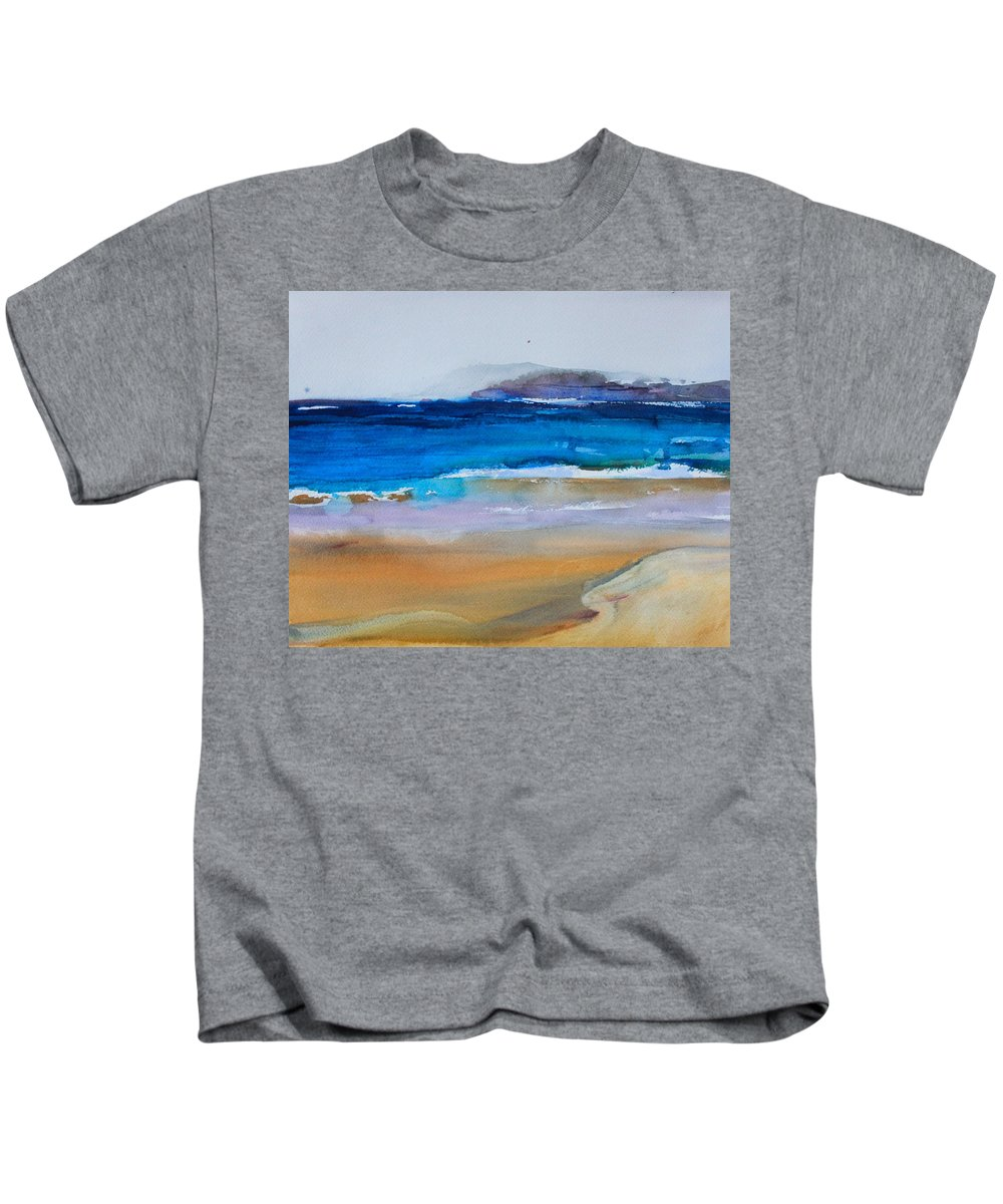 Deep Blue Sea Kids T-Shirt featuring the painting Deep Blue Sea And Golden Sand by Ibolya Taligas