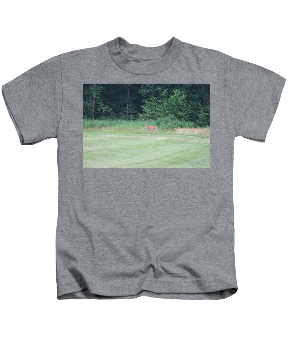 Photography Kids T-Shirt featuring the photograph Deer In The Midst by Barbara S Nickerson