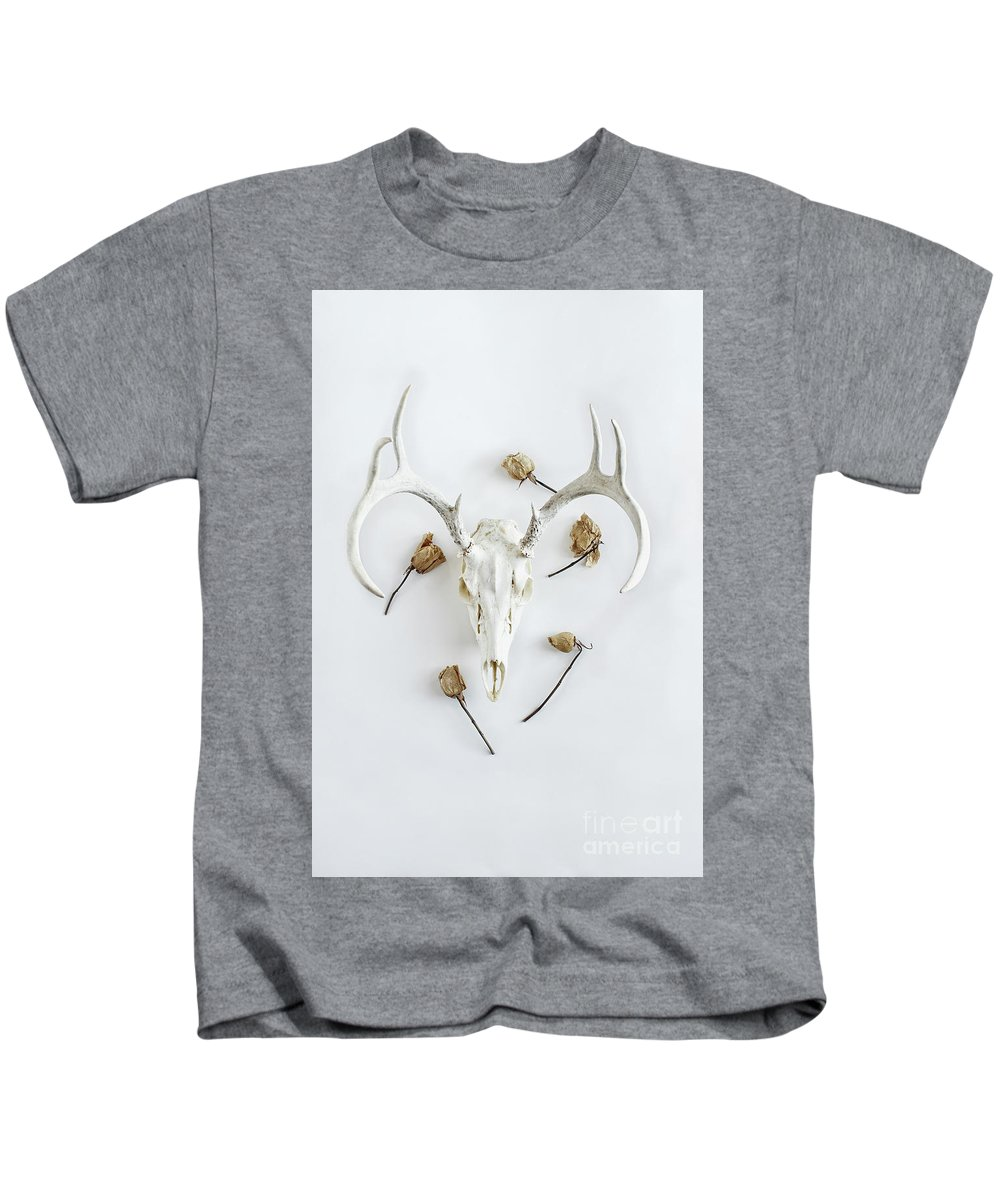 Deer Kids T-Shirt featuring the photograph Deer Skull With Antlers And Roses by Stephanie Frey
