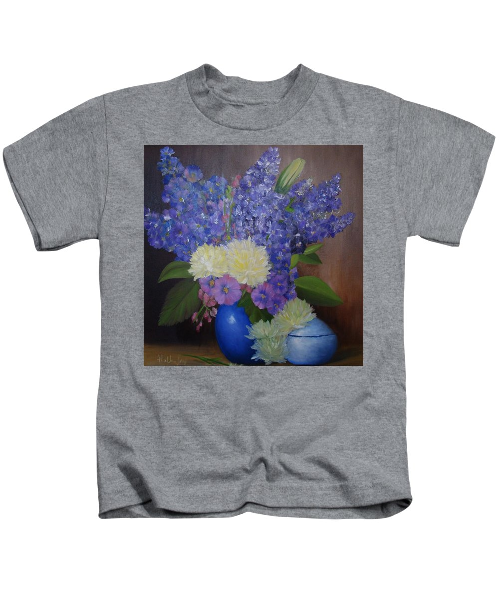 Original Oil Painting Kids T-Shirt featuring the painting Delphiniums In Blue Vase by Thuthuy Tran