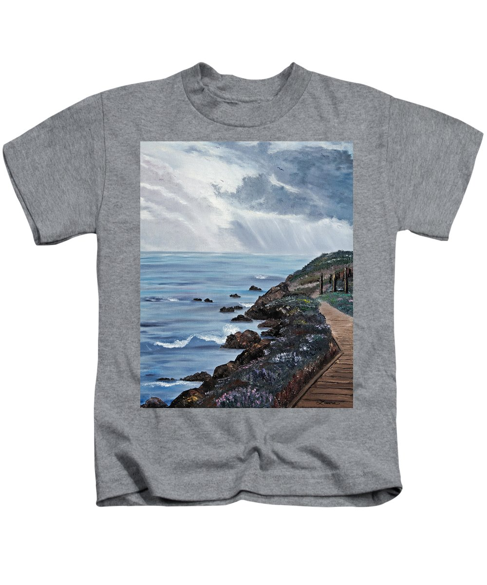 Seascape Kids T-Shirt featuring the painting Departing Storm by Laura Iverson