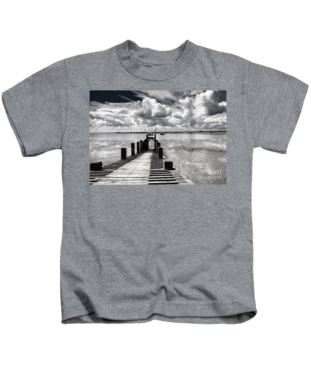 Wharf Southend Essex England Beach Sky Kids T-Shirt featuring the photograph Derelict Wharf by Sheila Smart Fine Art Photography