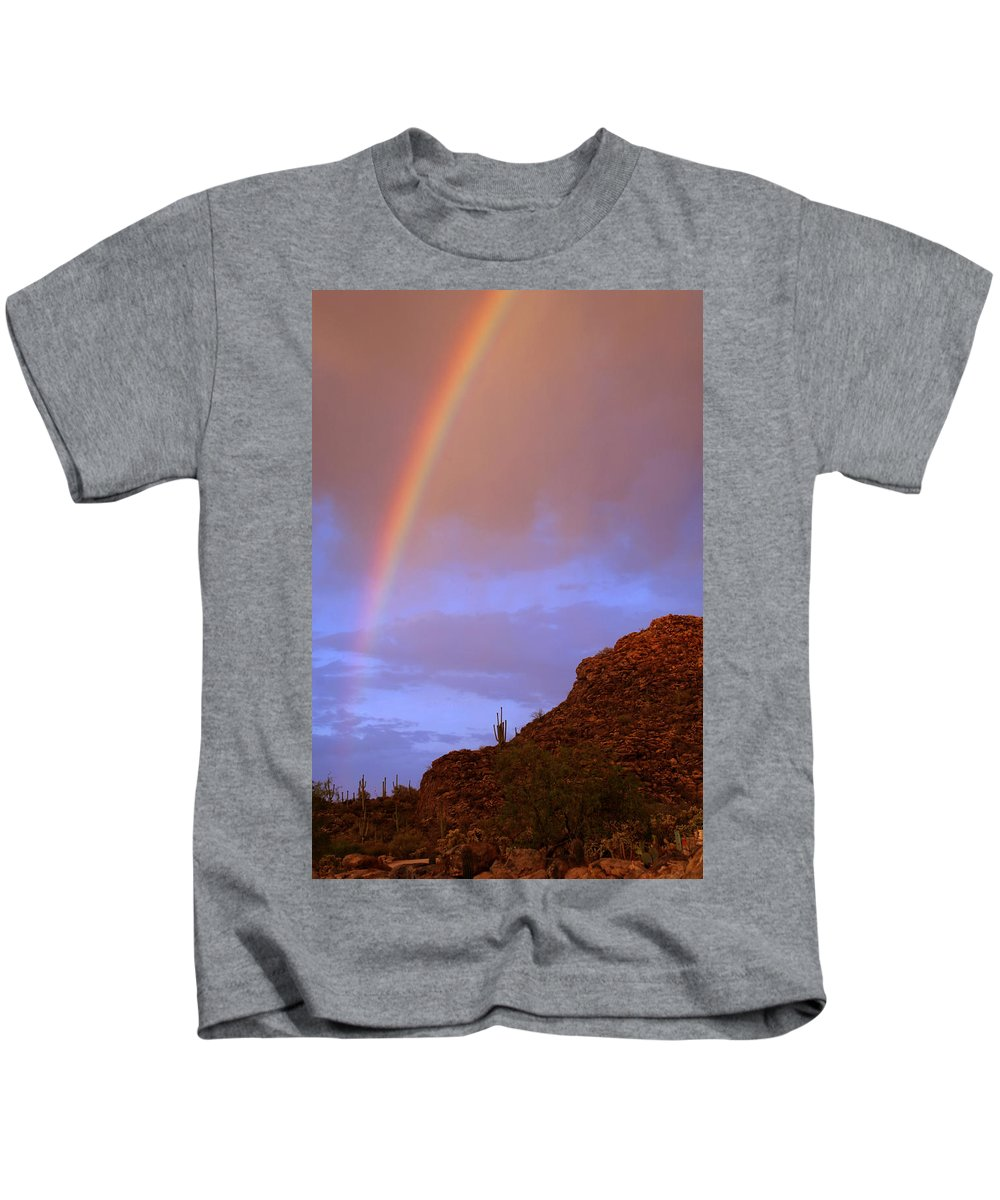 Rainbow Kids T-Shirt featuring the photograph Desert Rainbow by Jill Reger