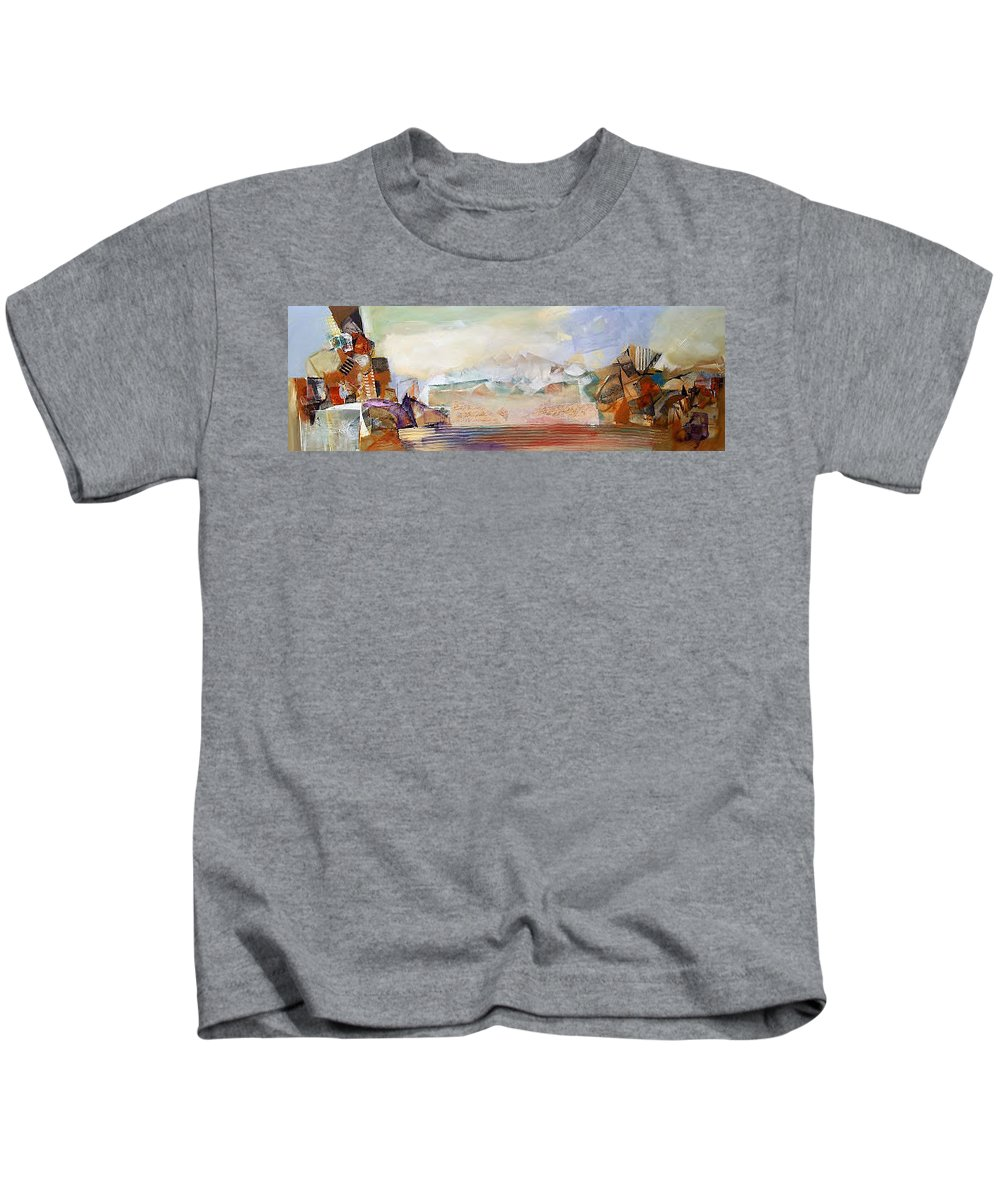 Abstract Original Canvas Mixxed Media Acrylic Kids T-Shirt featuring the painting Desert Scene1 by Nicholas Foschi