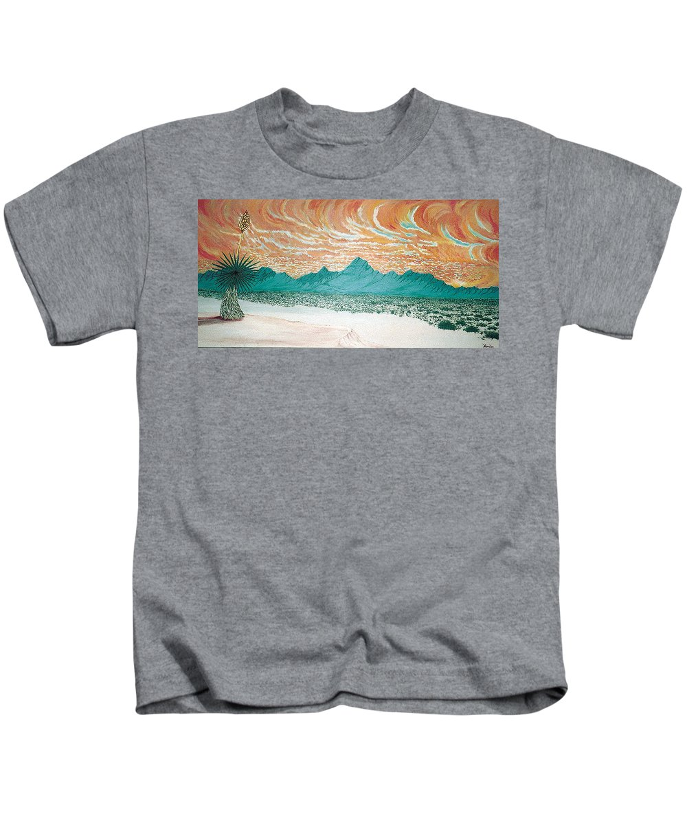 Desertscape Kids T-Shirt featuring the painting Desert Splendor by Marco Morales