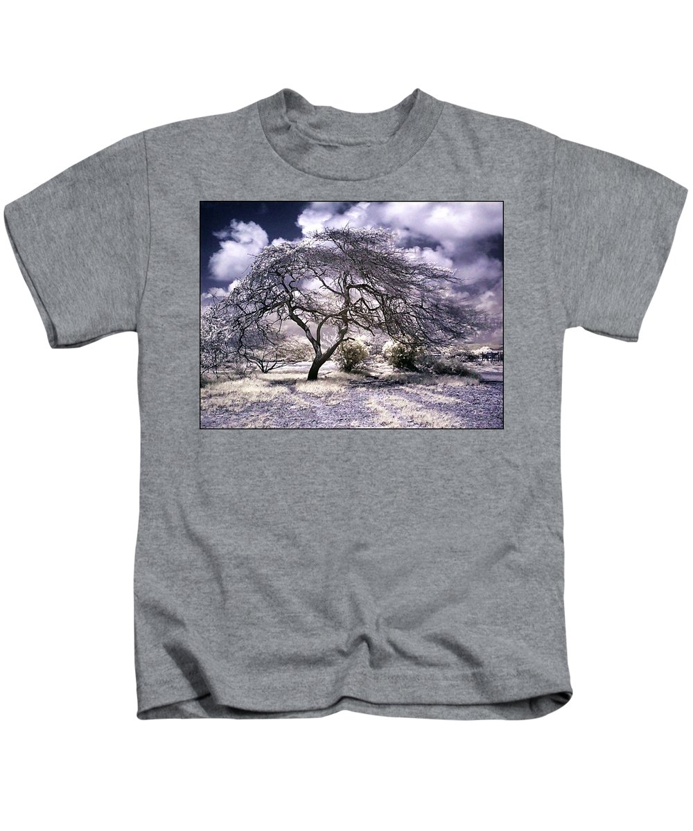 Infrared Garden Trees Magenta Blue White Infrared Photographs Kids T-Shirt featuring the photograph Desertic Tree by Galeria Trompiz