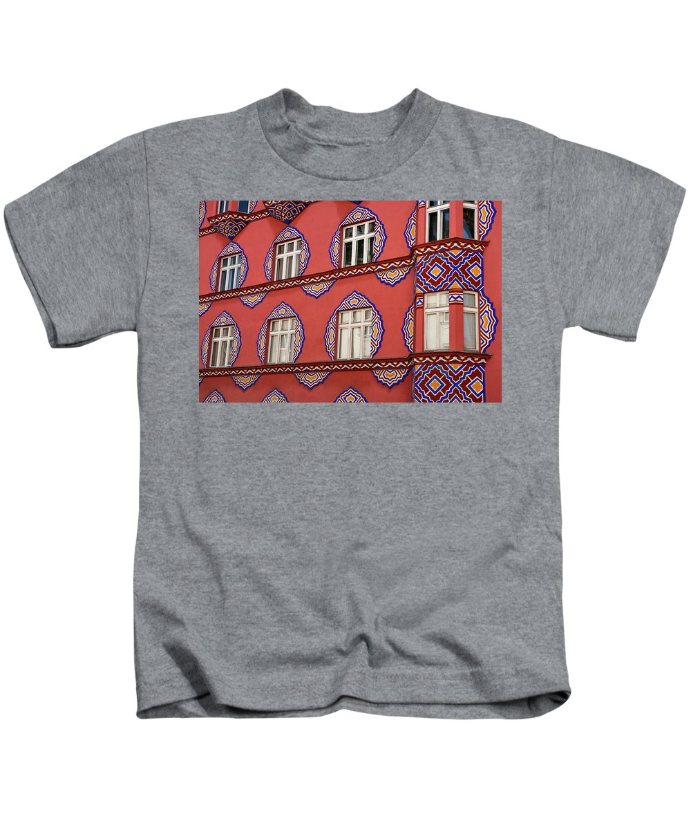 Cooperative Business Bank Kids T-Shirt featuring the photograph Detail Of Bright Facade Of The Cooperative Business Bank Buildin by Reimar Gaertner
