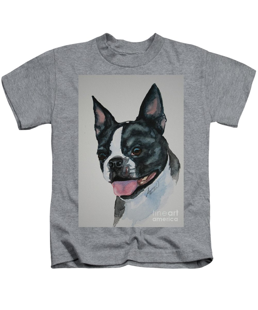 Boston Terrier Kids T-Shirt featuring the painting Devil Ears by Susan Herber