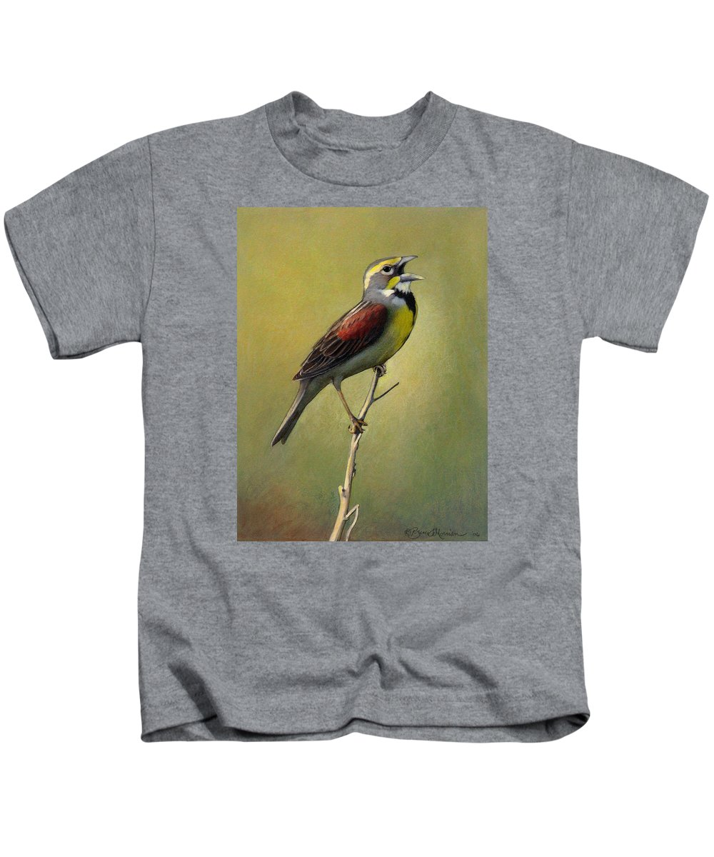 Birds Kids T-Shirt featuring the drawing Dickcissel Summer Song by Bruce Morrison