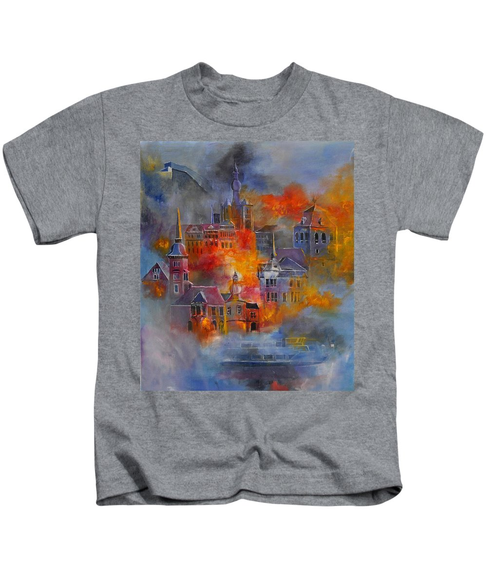 Urban Landscape Kids T-Shirt featuring the painting Dinant 670150 by Pol Ledent
