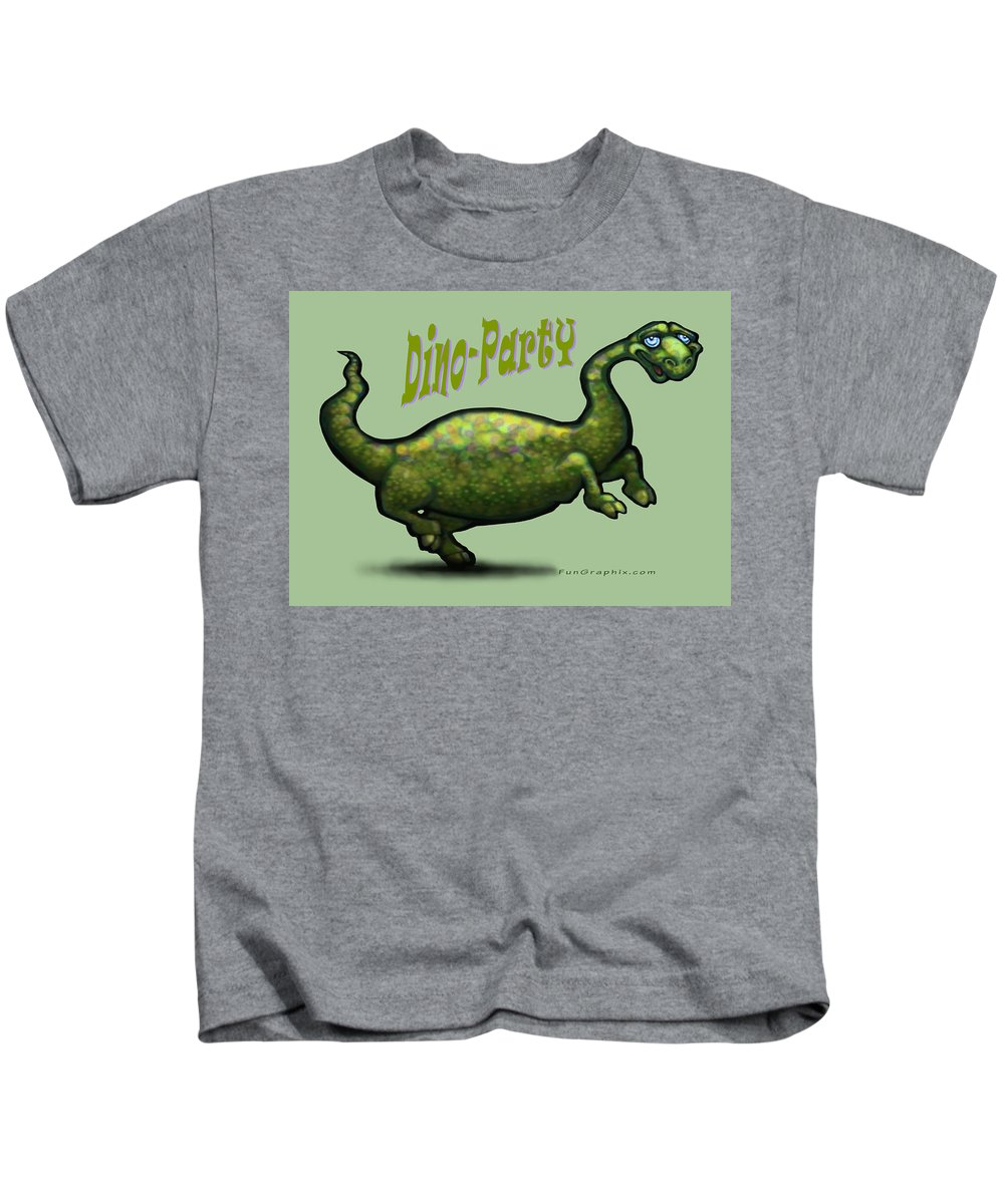 Dinosaur Kids T-Shirt featuring the greeting card Dino Party by Kevin Middleton
