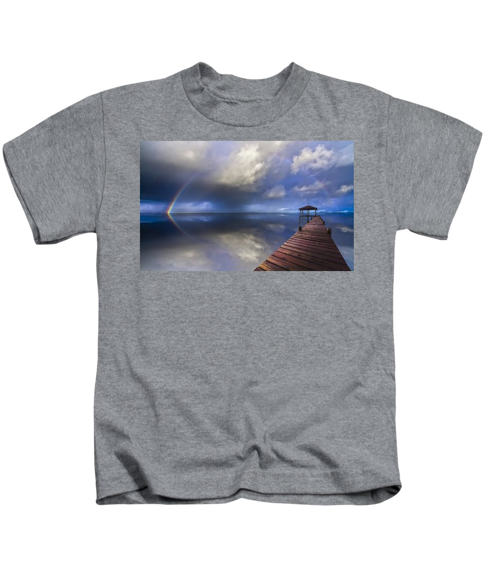 Clouds Kids T-Shirt featuring the photograph Disappearing Rainbow by Debra and Dave Vanderlaan