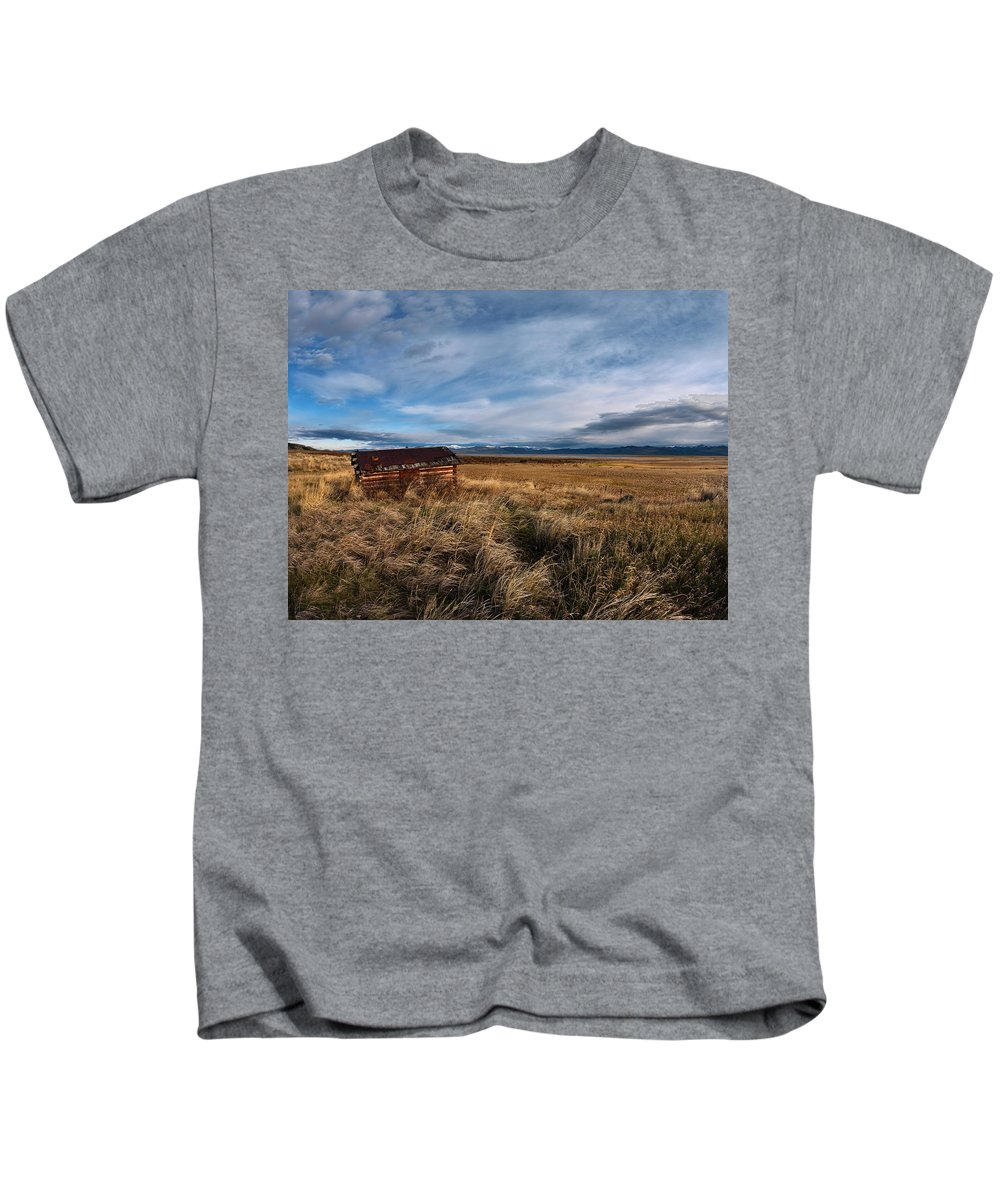 Cabin Kids T-Shirt featuring the photograph Distant Cabin by Leland D Howard