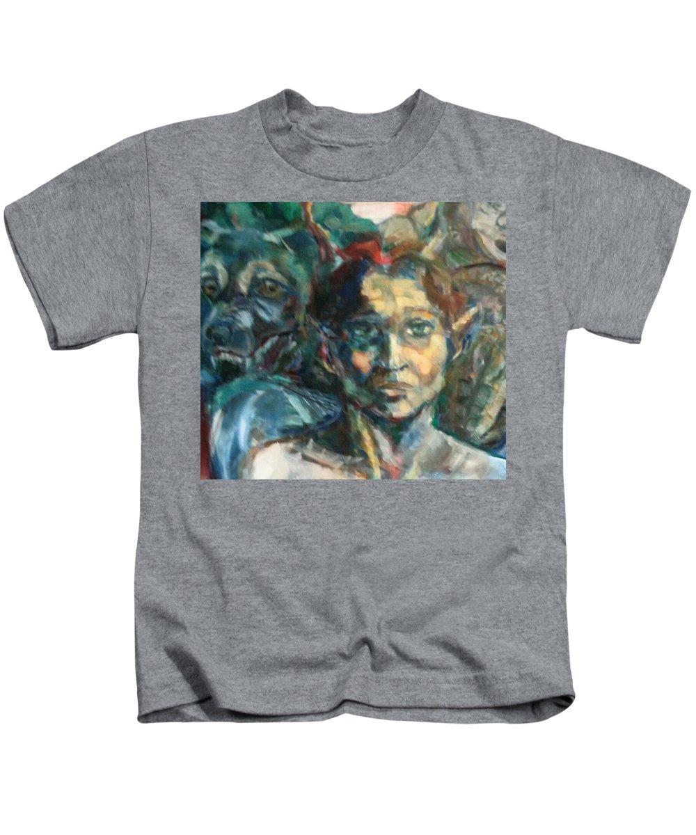 Mythology Kids T-Shirt featuring the painting Djinn Trapped by Tati Poley