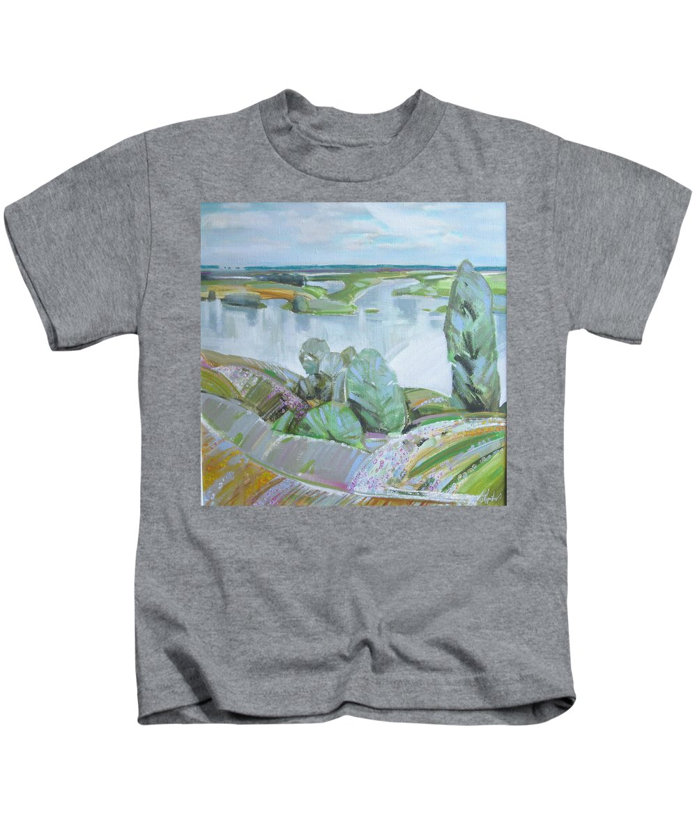 Landscape Kids T-Shirt featuring the painting Dnepro River by Sergey Ignatenko