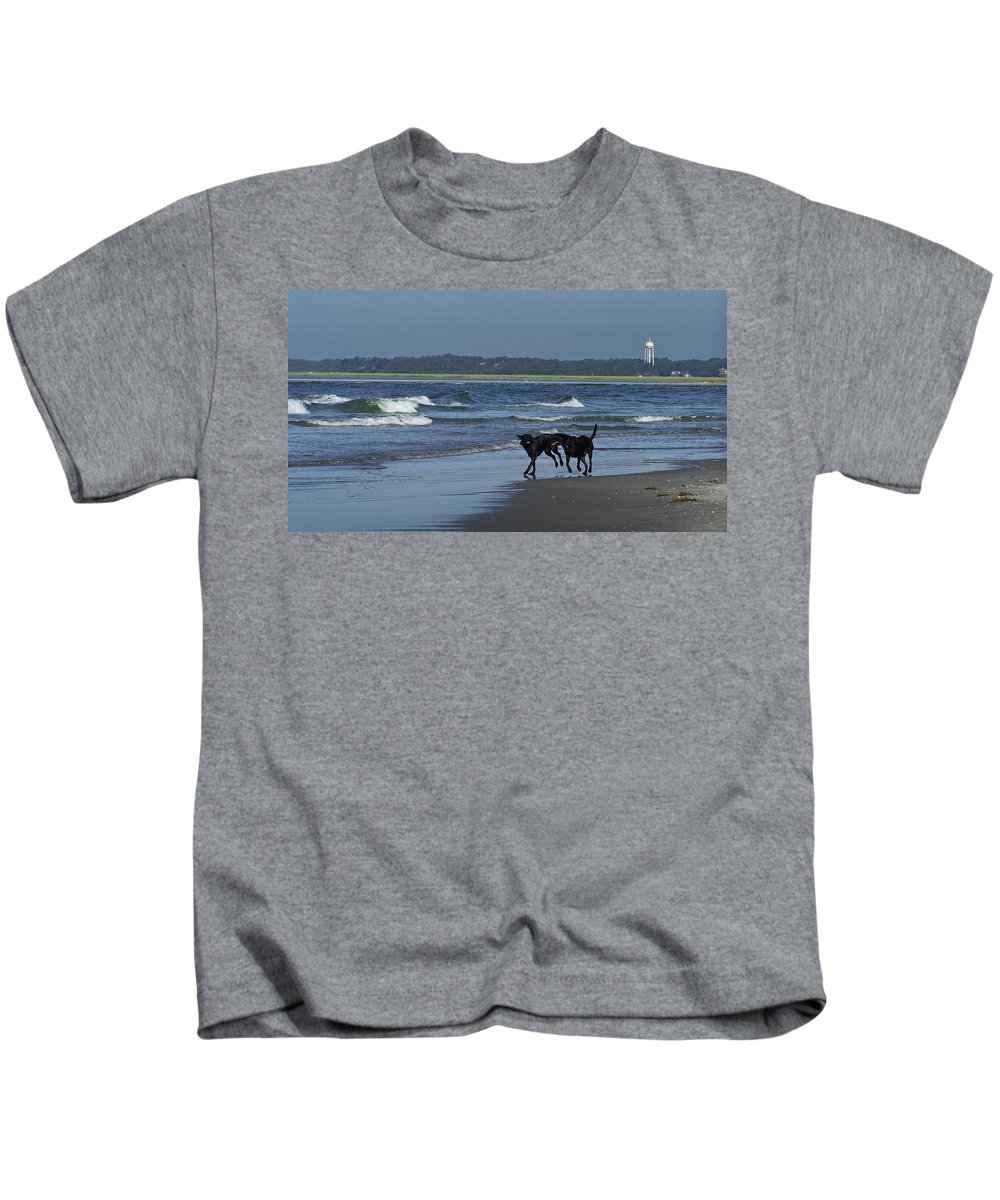 Dog Kids T-Shirt featuring the photograph Dogs On The Beach by Teresa Mucha