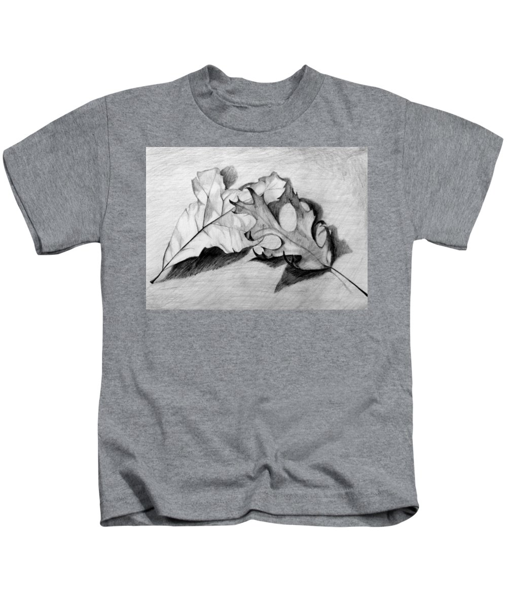 Fall Kids T-Shirt featuring the drawing Don't Leaf Me by Jean Haynes