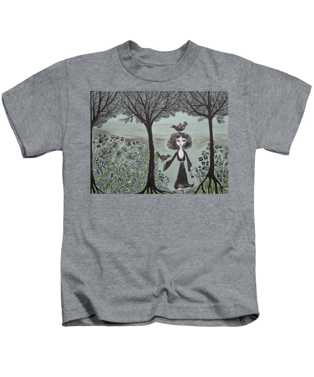 Woods Kids T-Shirt featuring the painting Ninas Garden by Sue Wright