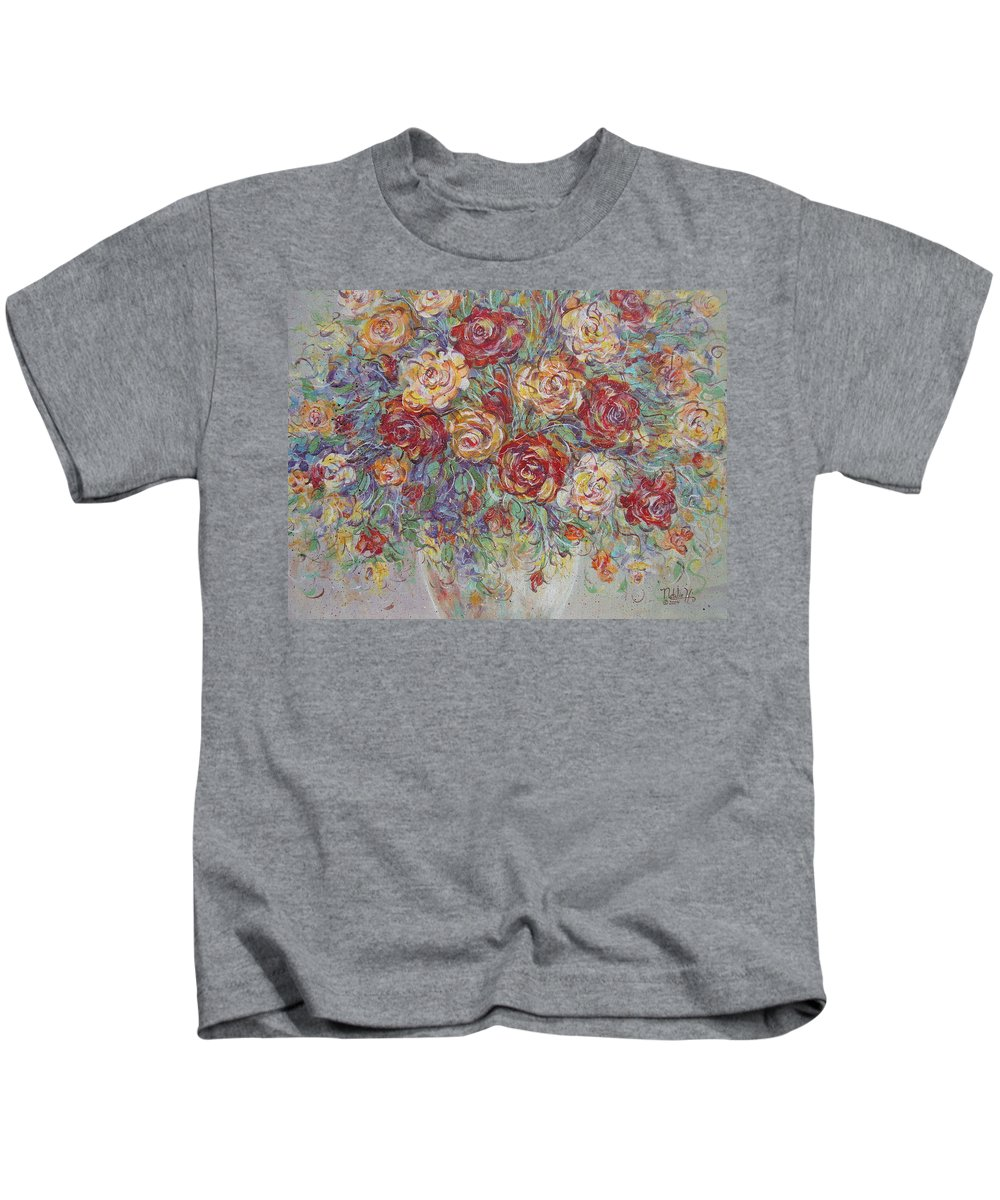 Flowers Kids T-Shirt featuring the painting Double Delight. by Natalie Holland