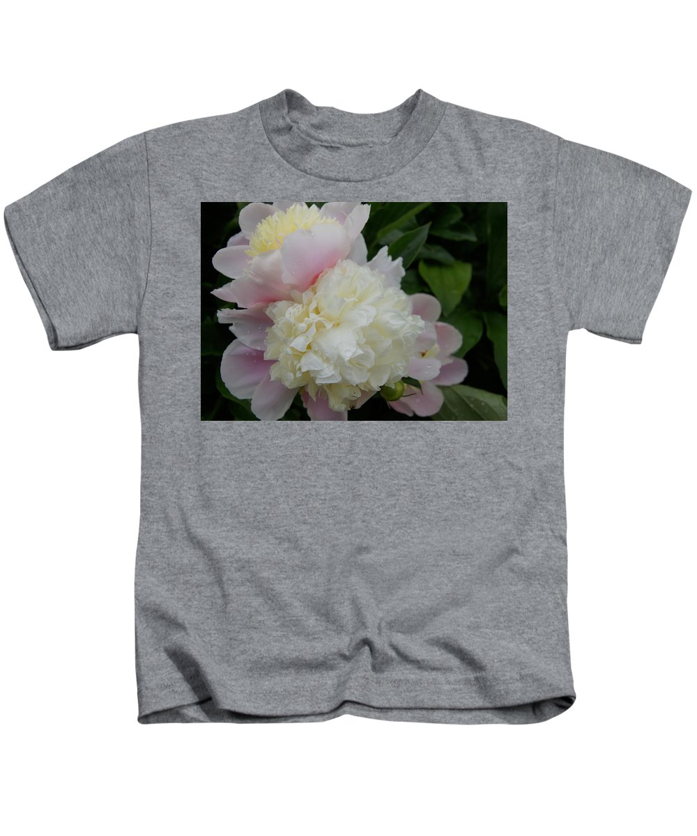 Peony Kids T-Shirt featuring the photograph Double Peony by Kristi Ulrich