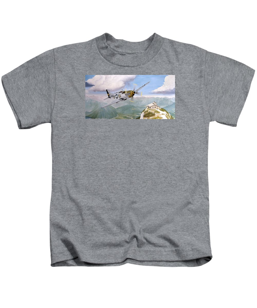 Military Kids T-Shirt featuring the painting Double Trouble Over The Eagle by Marc Stewart