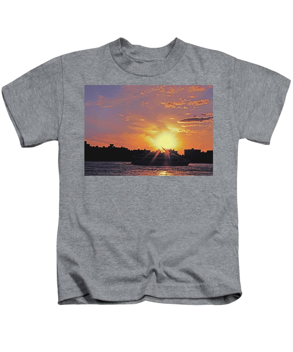 Ship Kids T-Shirt featuring the photograph Down The Hudson by Kendall Eutemey