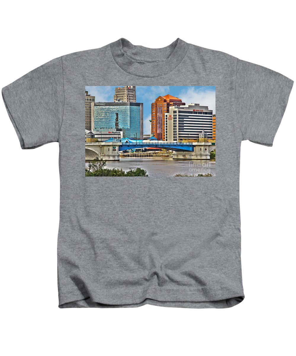 Toledo Ohio Kids T-Shirt featuring the photograph Downtown Toledo Riverfront by Jack Schultz