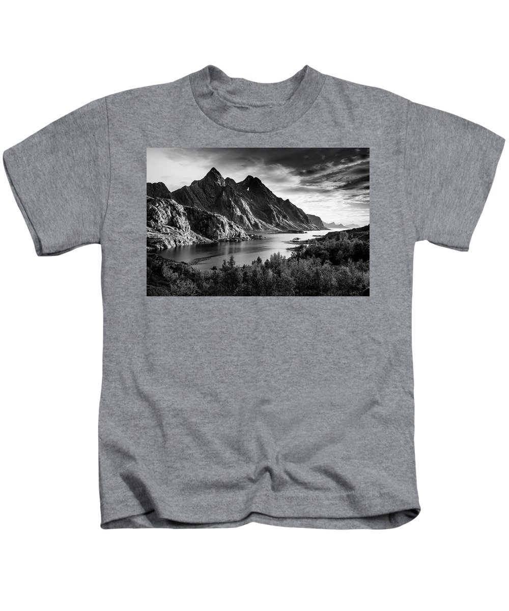 Dramatic Kids T-Shirt featuring the photograph Dramatic Lofoten by Alex Conu
