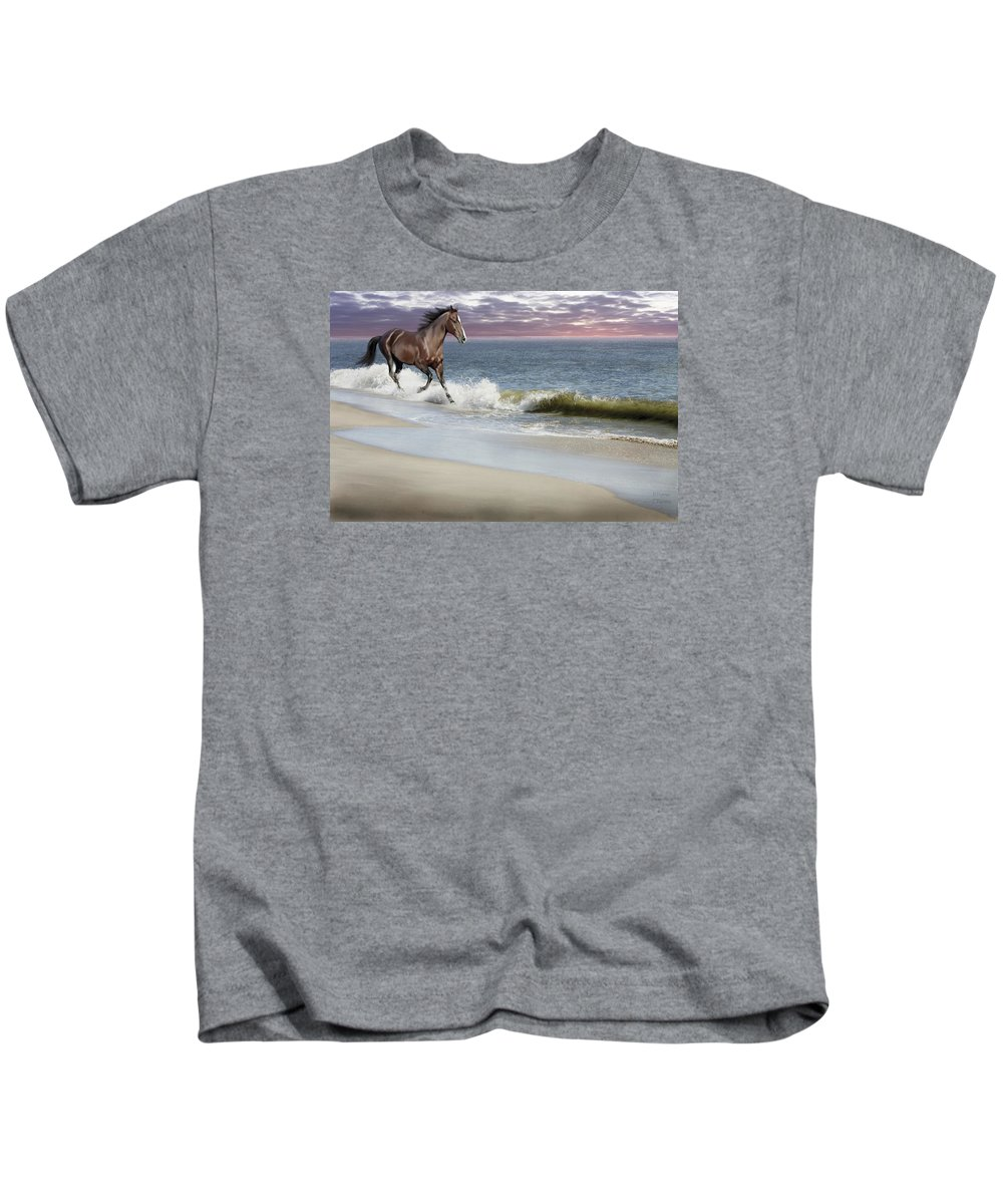 Landscape Kids T-Shirt featuring the photograph Dreamer On The Beach by Barbara Hymer