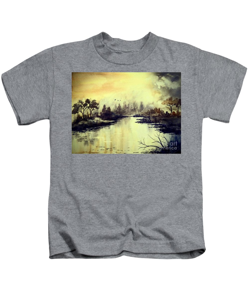 Skies Kids T-Shirt featuring the painting Dreamy Lake by Chapi Dee