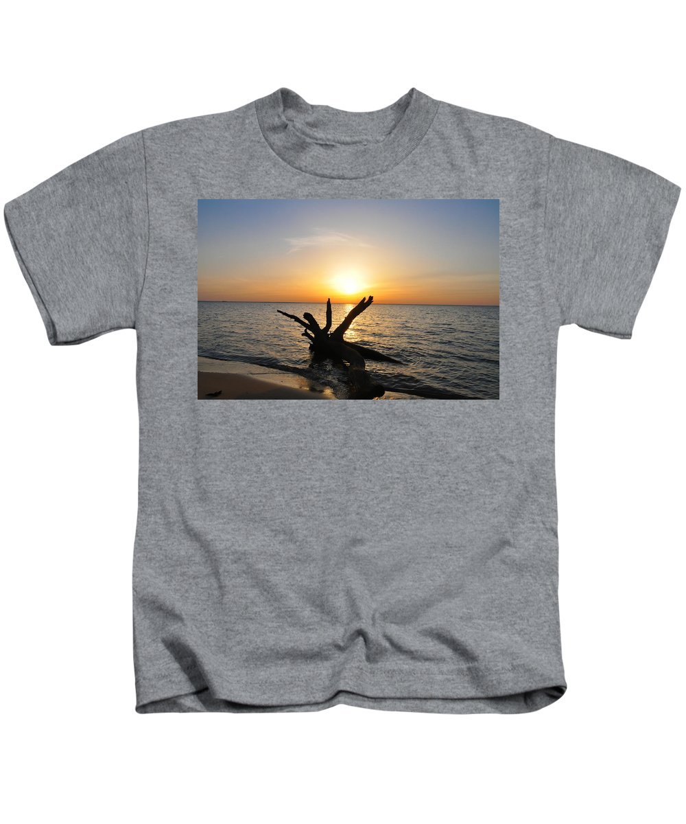 Sunset Kids T-Shirt featuring the photograph Driftwood Beach by Bill Cannon
