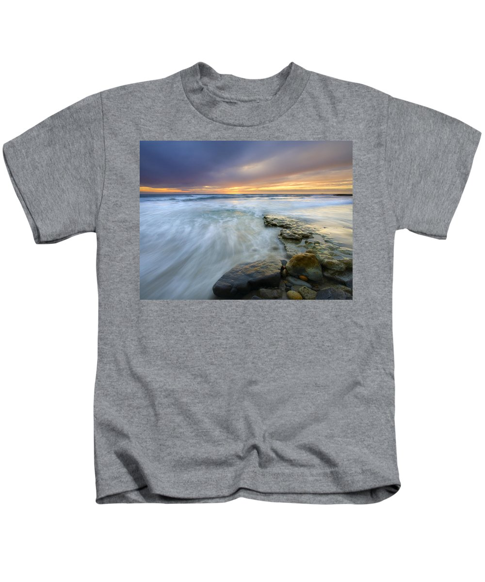Rocks Kids T-Shirt featuring the photograph Driven Before The Storm by Mike Dawson