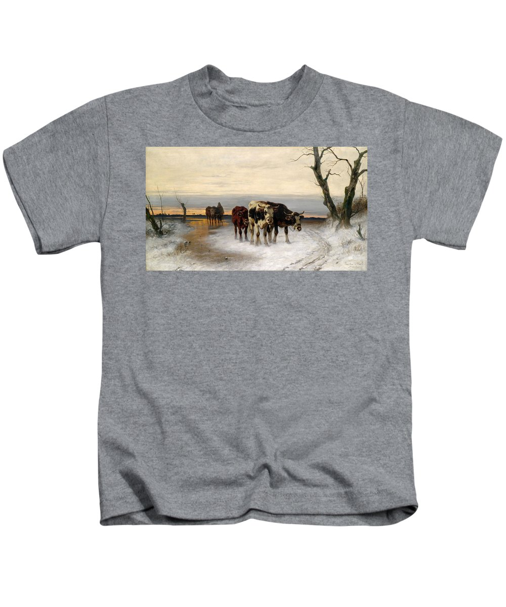 Christian Friedrich Mali Kids T-Shirt featuring the painting Driving The Herd Home In Wintry Landscape by Christian Friedrich Mali