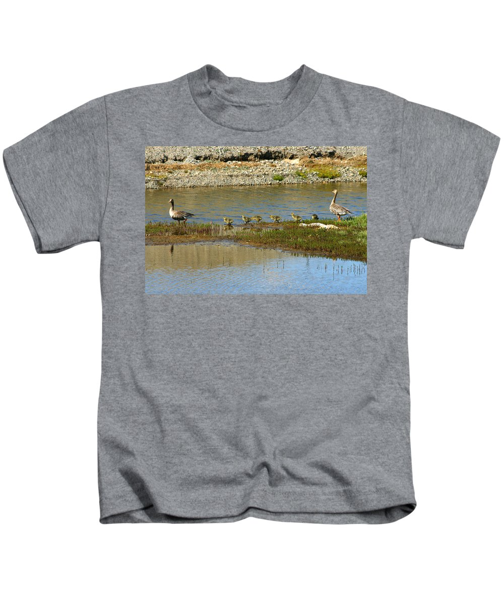 Ducks Kids T-Shirt featuring the photograph Ducks In A Row by Anthony Jones