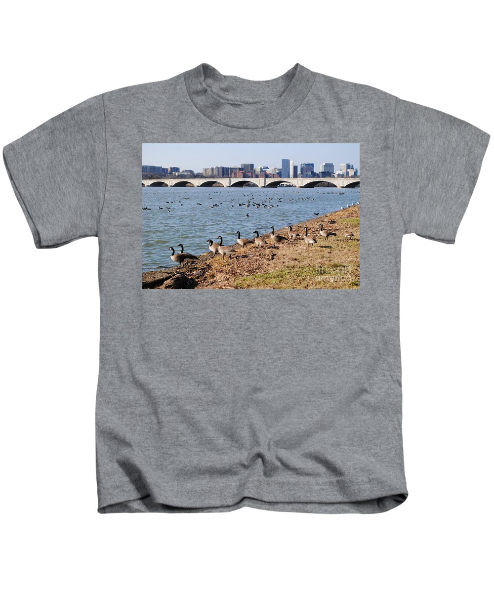 Washington Kids T-Shirt featuring the photograph Ducks Of The Potomac by Jost Houk
