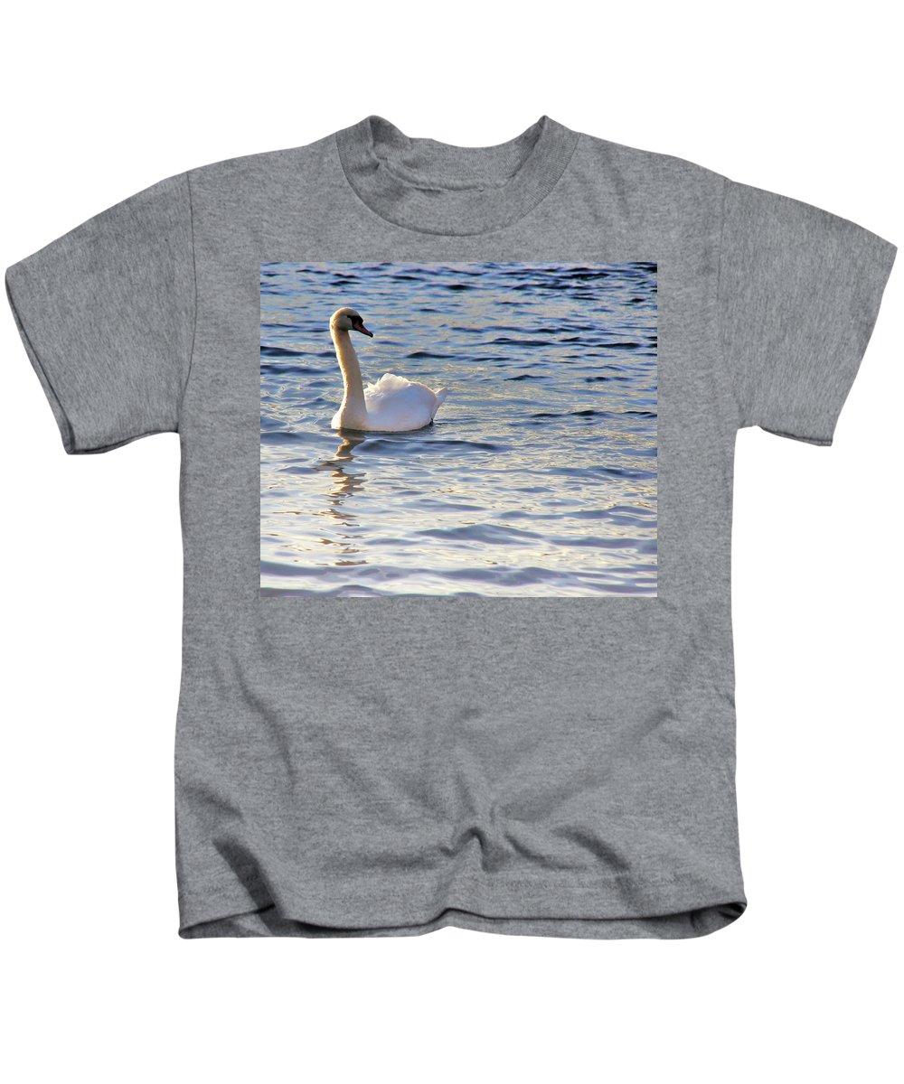 Nik Watt Kids T-Shirt featuring the photograph Duddingston Swan 1 by Nik Watt