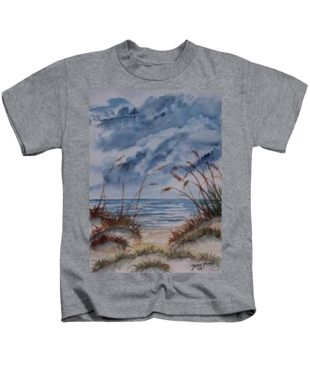 Watercolor Landscape Painting Seascape Beach Kids T-Shirt featuring the painting Dunes Seascape Fine Art Poster Print Seascape by Derek Mccrea