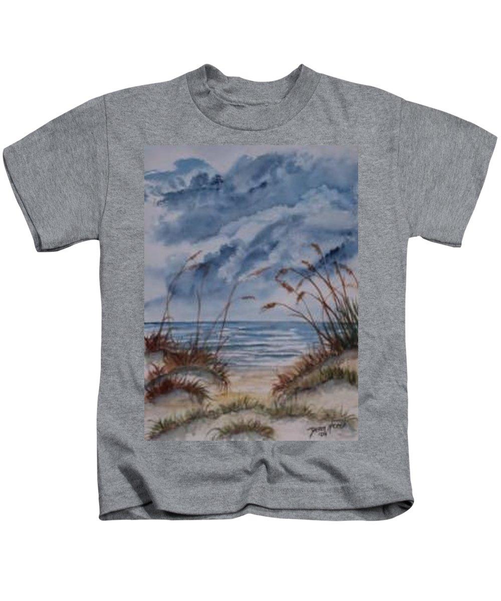 Watercolor Landscape Painting Seascape Beach Kids T-Shirt featuring the painting DUNES seascape fine art poster print seascape by Derek Mccrea
