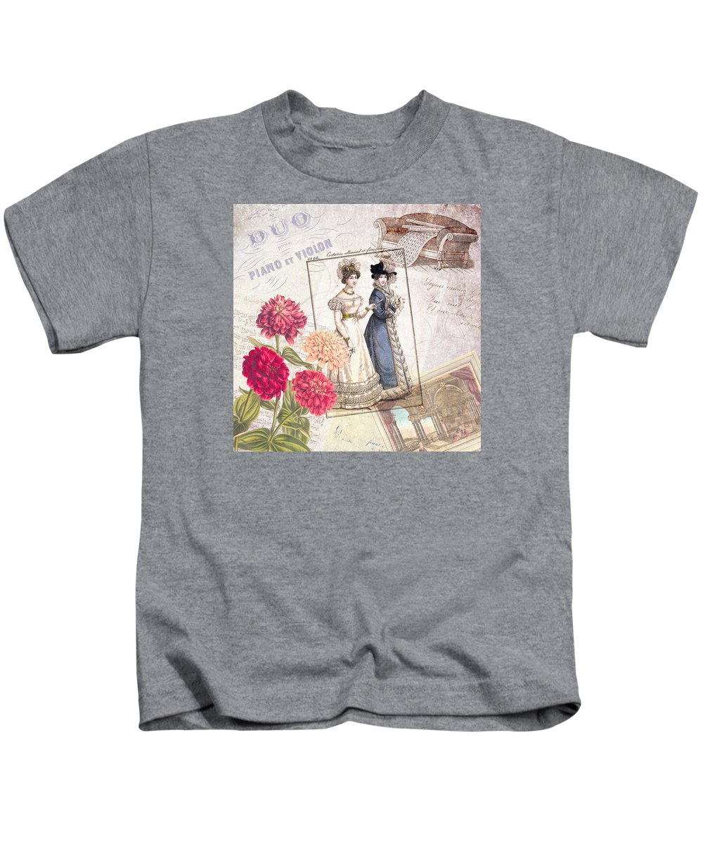 Vintage Kids T-Shirt featuring the digital art Duo For Piano And Violin by Antique Images