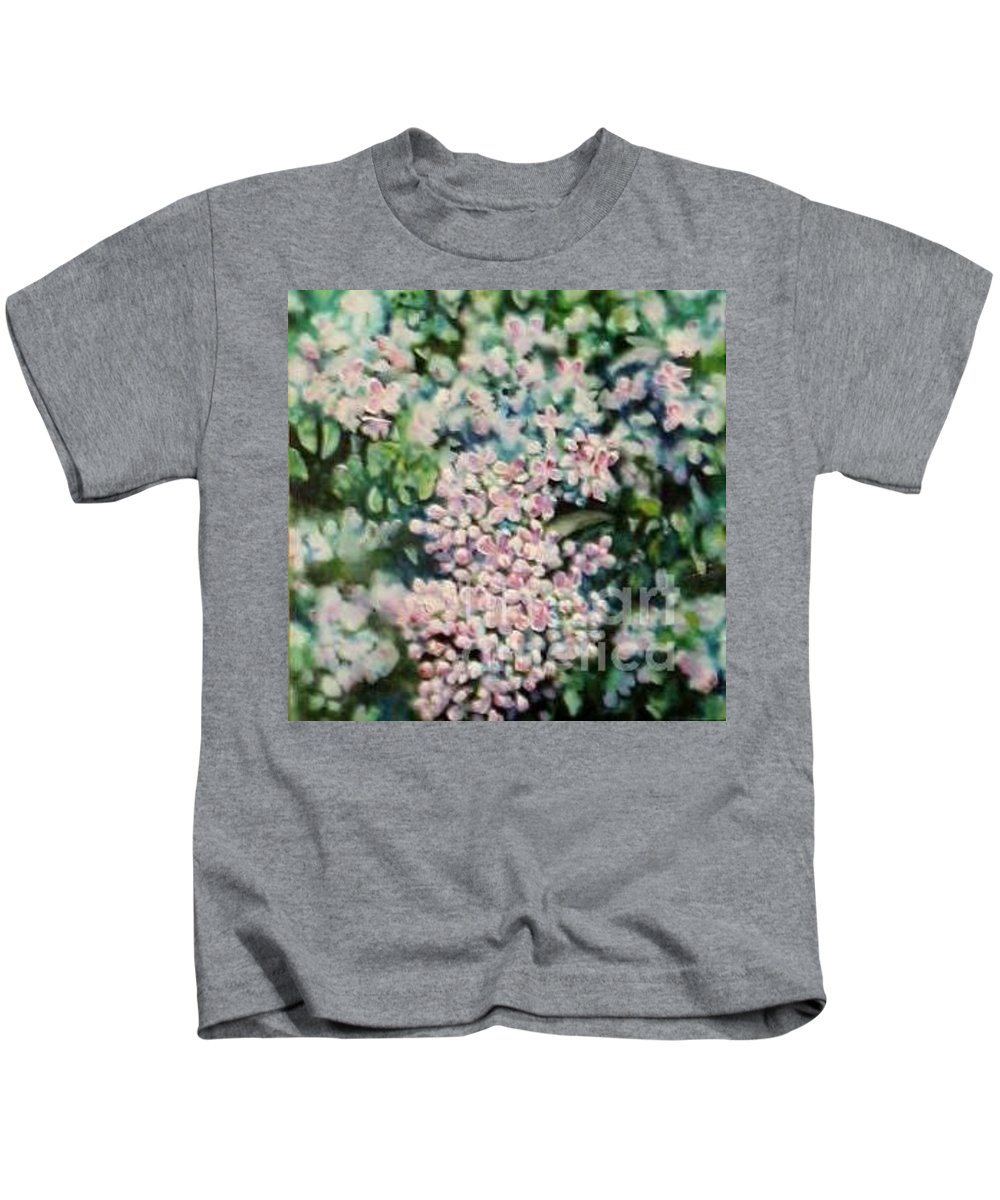 Lilacs Kids T-Shirt featuring the painting Dwarf Korean Lilac by Karen Sloan